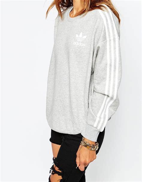 Sweater Adidas 3 Colors adidas originals 3 stripe crew neck sweatshirt at asos