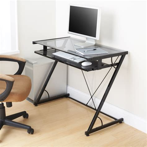 Walmart Small Computer Desk Mainstays Solar Glass Top Desk Black Walmart