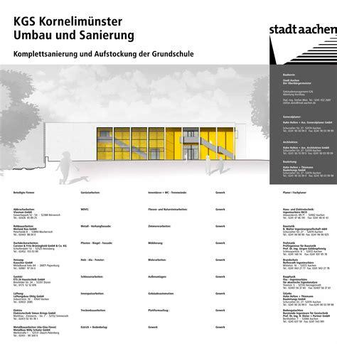 Bauen Ohne Bauschild by Stadt Aachen Geb 228 Udemanagement Sanierung Gs Kornelim 252 Nster