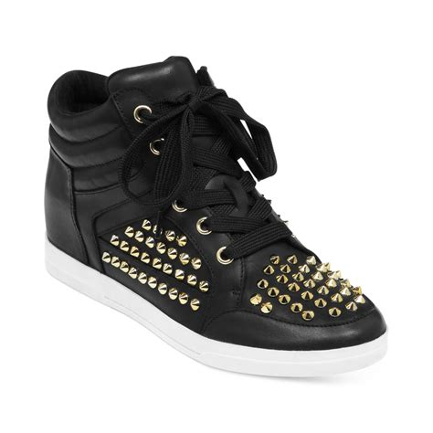 studded high top sneakers trebble studded high top sneakers in black