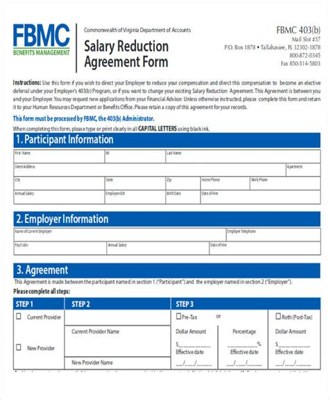 salary reduction agreement template agreement letter formats