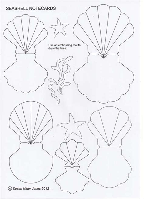 shell shaped card template figuras y moldes conchas sirenas