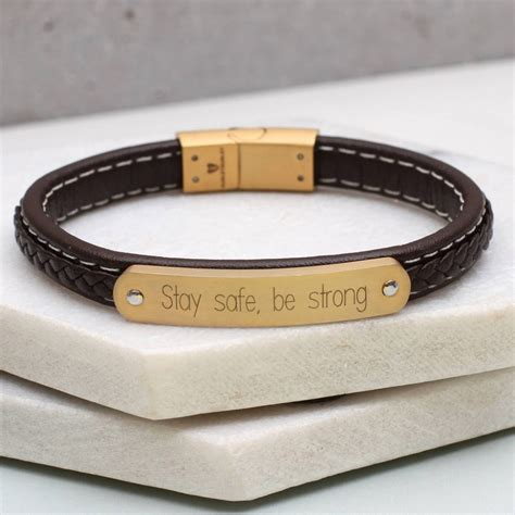 mens leather id bracelets personalised mens leather and gold id bracelet hurleyburley