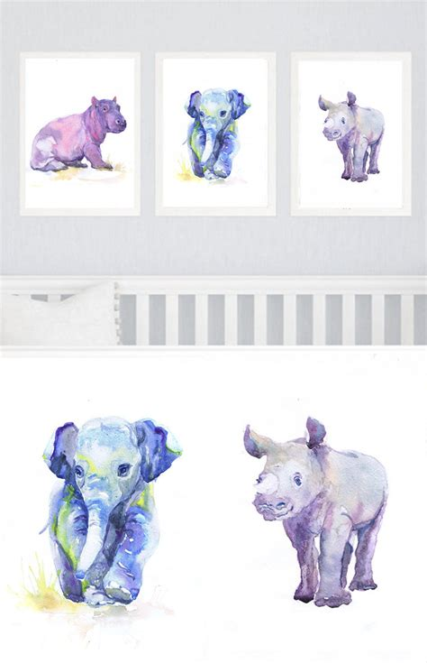 Baby Animals Nursery Set Of 3 Prints Watercolor Painting Boy Animal Nursery Decor