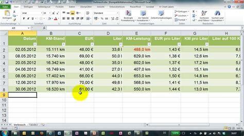 Verbrauchsrechner Auto by Benzinverbrauch Mit Excel Berechnen Kosten Auf 100 Km