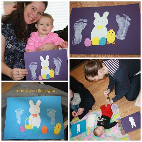 craft projects for babies footprint and handprint easter crafts