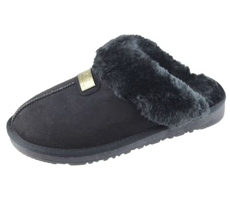 sole slippers womens fur lined slippers mules non slip rubber