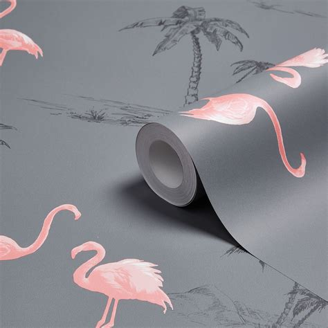 Flamingo Wallpaper B Q | colours charcoal pink flamingo mica wallpaper