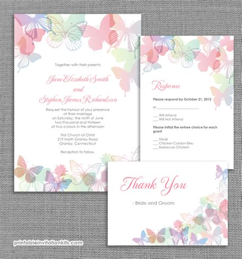 printable invitation kits com spring butterflies wedding invitation set wedding