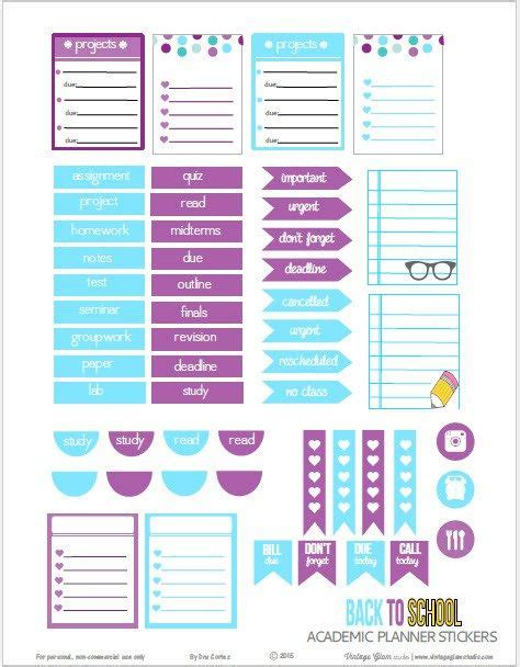 college planner printable free academic planner stickers free printable download