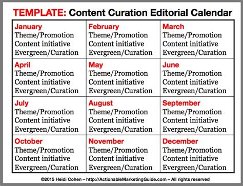 How To Develop Your Content Curation Editorial Calendar Heidi Cohen Website Editorial Calendar Template