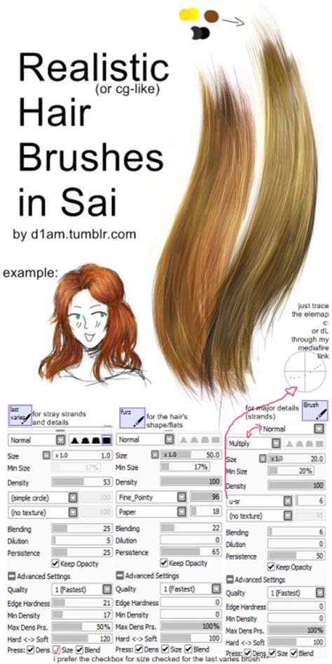 brush settings for sai d1am hair painting brushes for paint tool