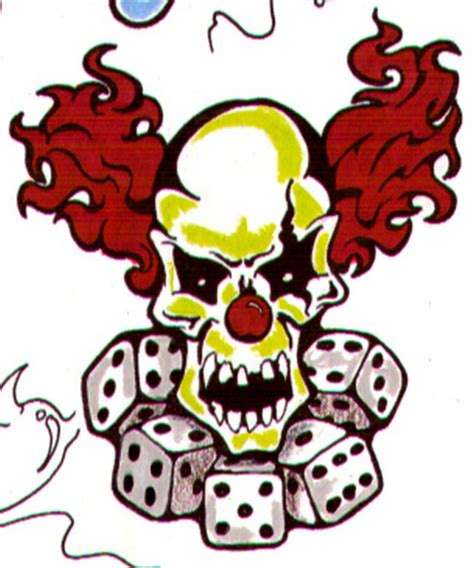 flaming clown skull tattoo design tattoos book 65 000