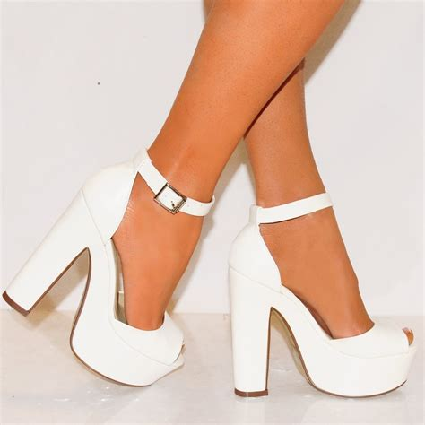 white pu leather white platform high heel shoes
