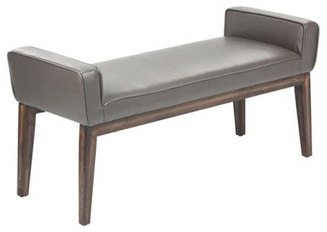 gray leather bench artefac sydney bonded leather bench gray upholstered benches houzz