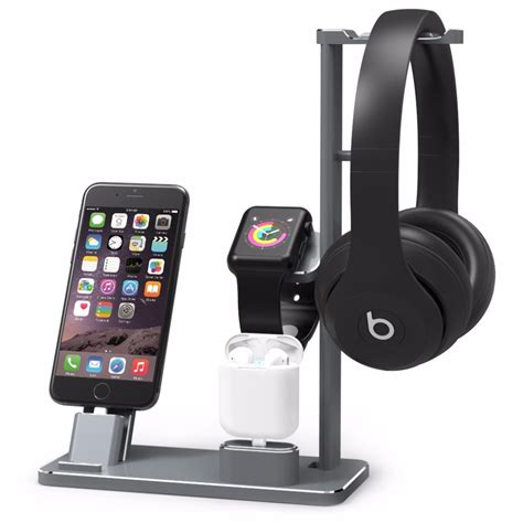 aluminium headphone stand holder charging dock charger station mount base for apple series