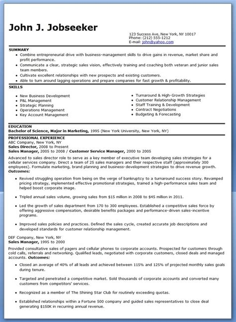 sales resume templates sle sales director resume resume downloads