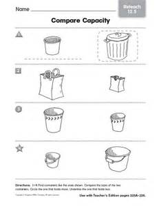 capacity worksheets for kindergarten capacity worksheets