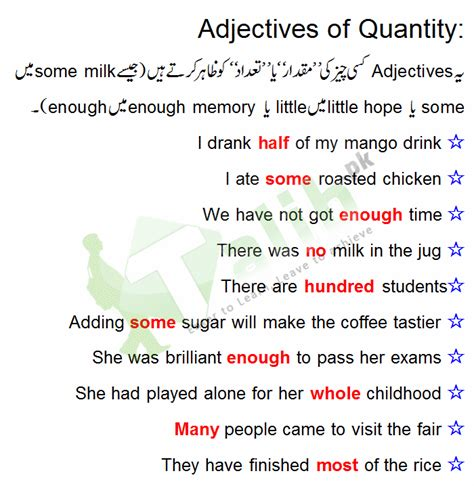 quality adjectives and quantity adjective definition