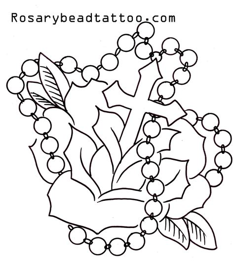 rose tattoo stencil designs flower with roseary stencils rosary cross