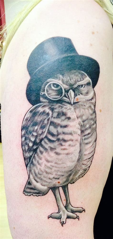 owl tattoo hat my owl with top hat and monocle tattoo by giles twigg