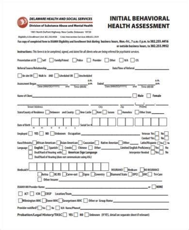 Sle Mental Health Assessment Forms 7 Free Documents In Pdf Behavioral Health Assessment Template