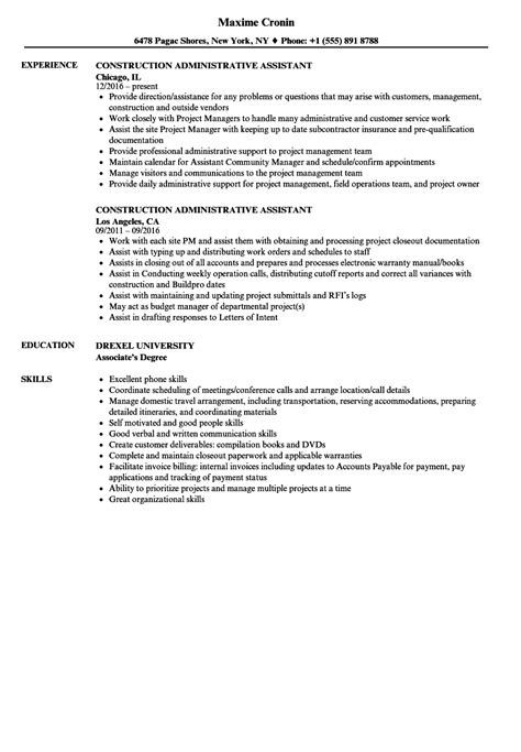 Construction Administrative Assistant Cover Letter by Resumes Construction Administrative Assistant Hotel Front Desk Clerk Resumes Construction