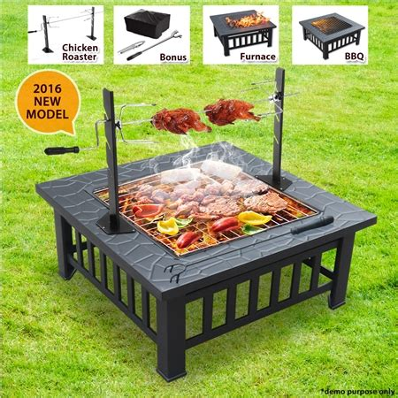 pit rotisserie bbq grill pit with removable chicken rotisserie
