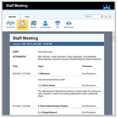 staff meeting agenda template samples forms