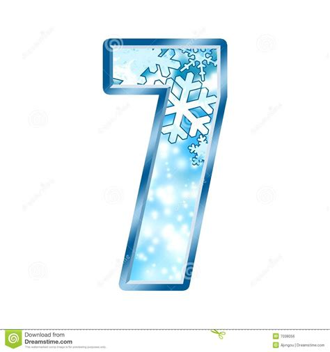 up letter with snow winter alphabet number 7 seven stock illustration image