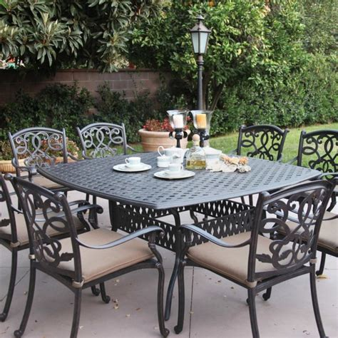 Darlee Santa Monica 8 Person Cast Aluminum Patio Dining 8 Person Patio Dining Set