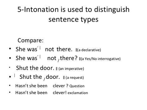 exles of sentences with intonation pattern functions of stress and intonation pres