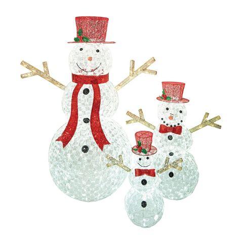 3pc led christmas holiday lighted random twinkling snowman