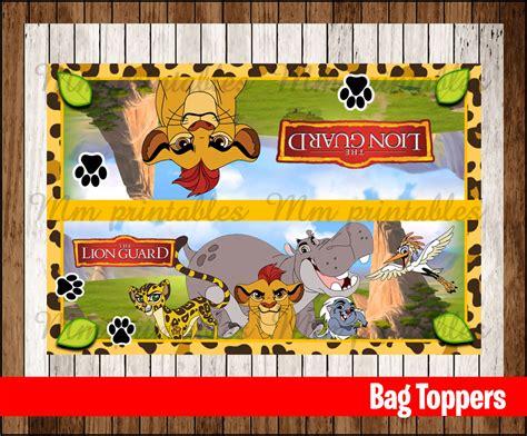 printable party bag toppers 80 off sale the lion guard party toppers instant download