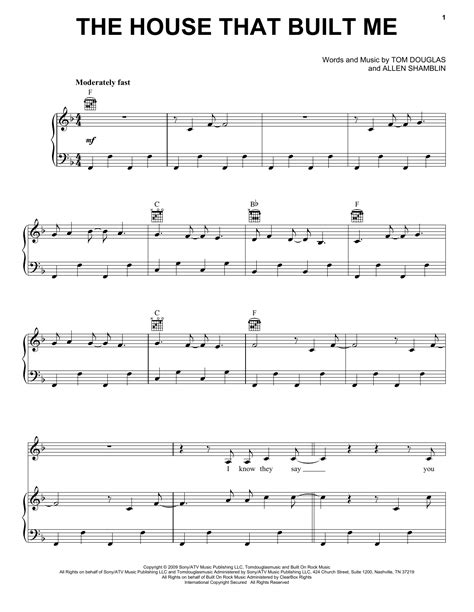 The House That Built Me Sheet Music By Miranda Lambert Piano Vocal Guitar Right