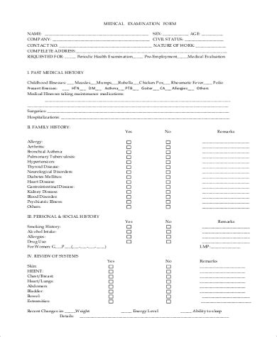Printable Annual Physical Form