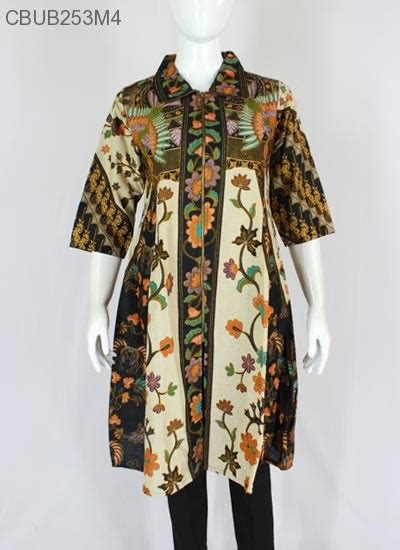 Tunik Bigsize Motif Bunga atasan tunik klok motif bunga blus lengan tanggung murah batikunik