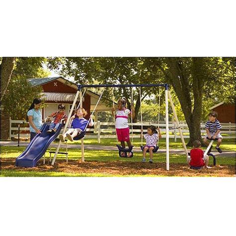 swing sets at walmart flexible flyer triple fun ii metal swing set walmart com
