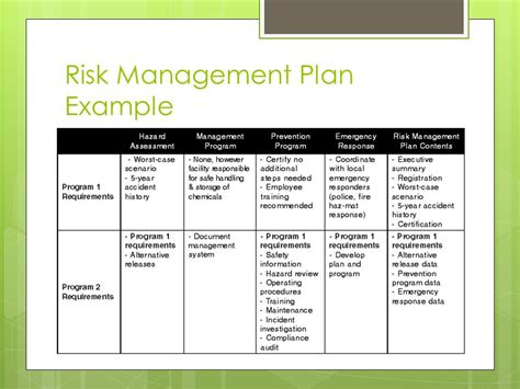exle of a risk management plan template by team t rex houlihan and gavin herbert ppt