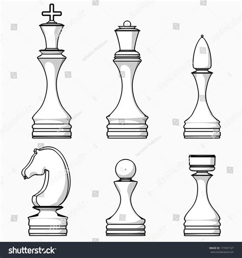 Chess Pieces Outline by Complete Set Chess Pieces Illustration Stock Illustration 177457127
