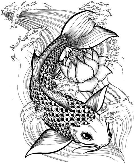 free koi carp tattoo designs black and white japanese flower clip search
