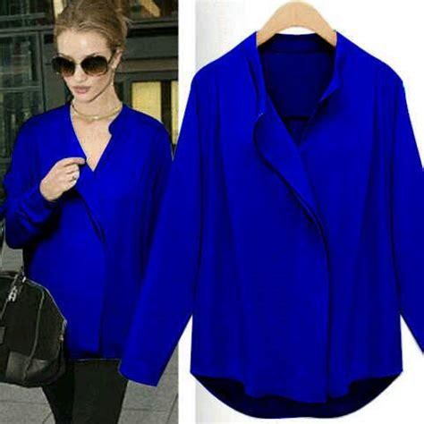 Baju Warna Biru Item baju kemeja wanita cantik model terbaru murah