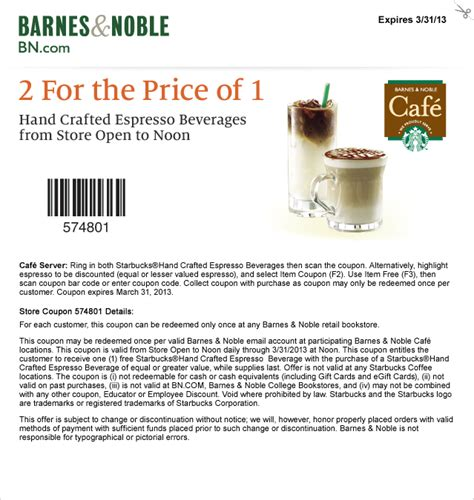 Where Can I Buy Barnes And Noble Gift Cards - barnes and noble cafe starbucks buy one get one free drink coupon mama cheaps
