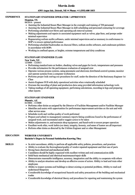 Stationary Engineer Resume by Resume Operating Engineer Occupational Health And Safety Resume Exle Librarian Resume Exle