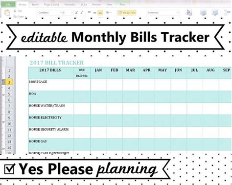 2018 monthly bill tracker home utilities bill payment log