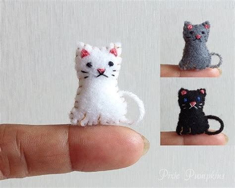 Handmade Cat - felt animal plushie tiny felt cat miniature felt felted