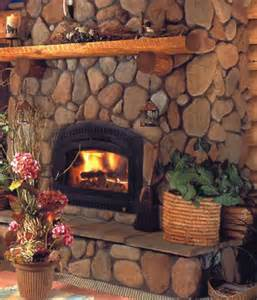 gorgeous river rock fireplace on river rock fireplace