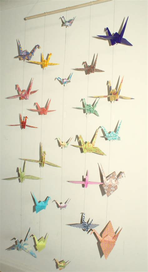 Hanging Origami Cranes - origami crane hanging mobile ready to ship