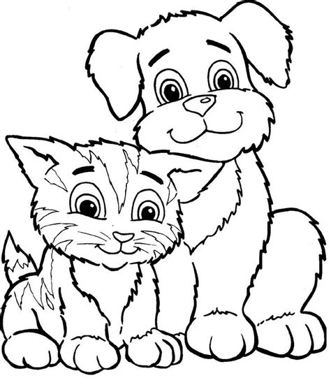 Printable Coloring Pages Of Cats And Dogs | cat and dog coloring pages coloring home