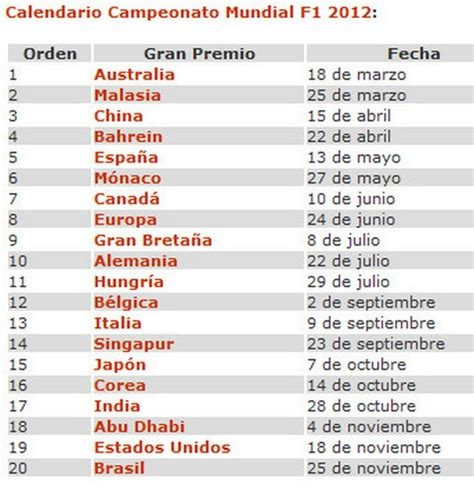 calendario f1 2012 diablomotor f1 2017
